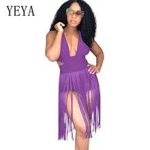 YEYA Sexy Back Cross Bandage Women Elegant Bodycon Tassel Jumpsuits Sleeveless Hollow Out Ladies Fashion Fringe Bodysuits