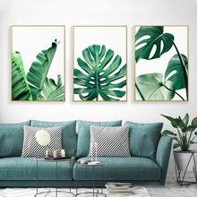 Картина на холсте с зелеными растениями в скандинавском стиле