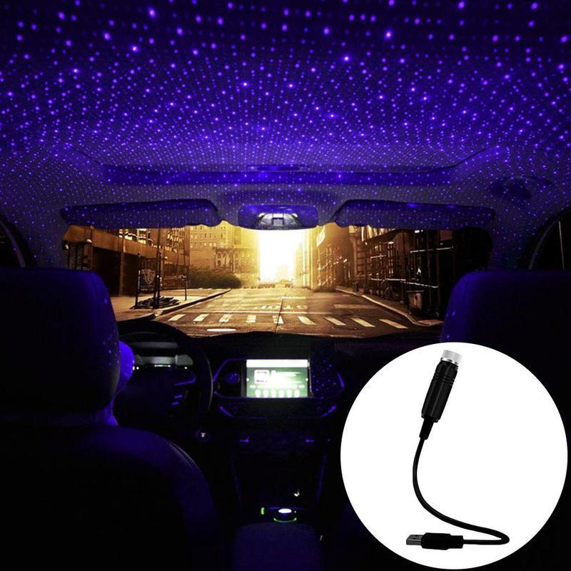 Blue LED Car Roof Star Night Light Projector Atmosphere Galaxy Car Lamp USB Decorative Lamp Adjustable Car Light