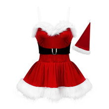 Costume Xmas-Dress Sexy Women's Holiday with Belt-Hat Santa-Claus Cosplay Adult Red
