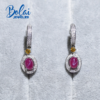 Bolai star ruby dangle earrings real 925 sterling silver created gemstone fine jewelry clasp earring for women's best gift