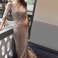 Dubai Grey Nude V Neck Sexy Evening Dresses 2020 Crystal Sleeveless Shawl Yarn Formal Dress Serene Hill LA70382