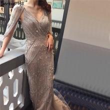 Dubai cinza nude com decote em v sexy vestidos de noite 2020 cristal sem mangas xale fio formal vestido sereno hill la70382