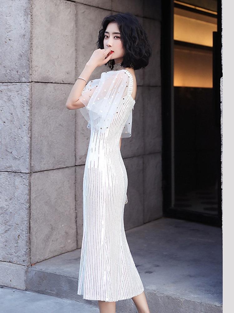 Evening Dress Tulle Short-Sleeves Formal Prom  Elegant Sequins Party Dress For Women Dress Evening White Mermaid Tea-Length Gown