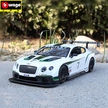Bburago 1:24 Bentley Continental gt3 Racing Edition Convertible alloy car model simulation car decoration collection gift toy машины bburago машина для сборки bentley continental supersports convrtible isr