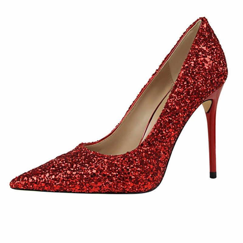 LIN kral kadın 9.5cm yüksek topuklu büyük boy striptizci Glitter Scarpins lüks pompaları Stiletto düğün gelin altın gümüş fetiş ayakkabı
