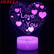 Night LED Lights Novelty 3D  lamp Cute Toy Gift 7 Color Abstract Artist Graphics Cartoon Atmosphere Lamp For Children Kids Room