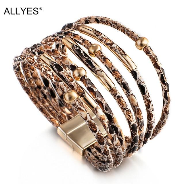 ALLYES, diseño de serpiente, pulseras de cuero para mujer, moda 2020, pulseras y brazaletes elegantes multicapa, pulsera amplia, joyería