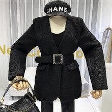 Korean Coat Adjustable Waist V-Neck  Solid  Slim High Street Slim Abrigos Mujer Invierno 2019 Women Coats Autumn Winter White цены онлайн