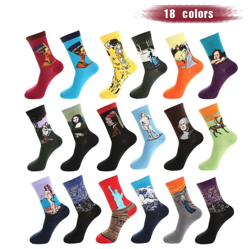 UGUPGRADE Colour Crew Cotton Happy Socks Men British Style Casual Harajuku Designer Brand Fashion Novelty Art For Couple Fun