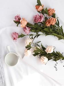 Image 5 - INS Style Artificial Vintage rosa Mesa decoración flores para cosméticos vino foto de fondo fotografía foto