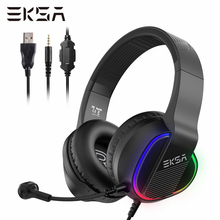 EKSA E400 Gaming Headset Gamer 3 5mm Stereo Wired Headphones with Microphone RGB LED Lights For PC PS4 Xbox One Nintendo Switch cheap Over the Ear Dynamic CN(Origin) 96dB None 2 2m For Internet Bar Monitor Headphone for Video Game Common Headphone For Mobile Phone