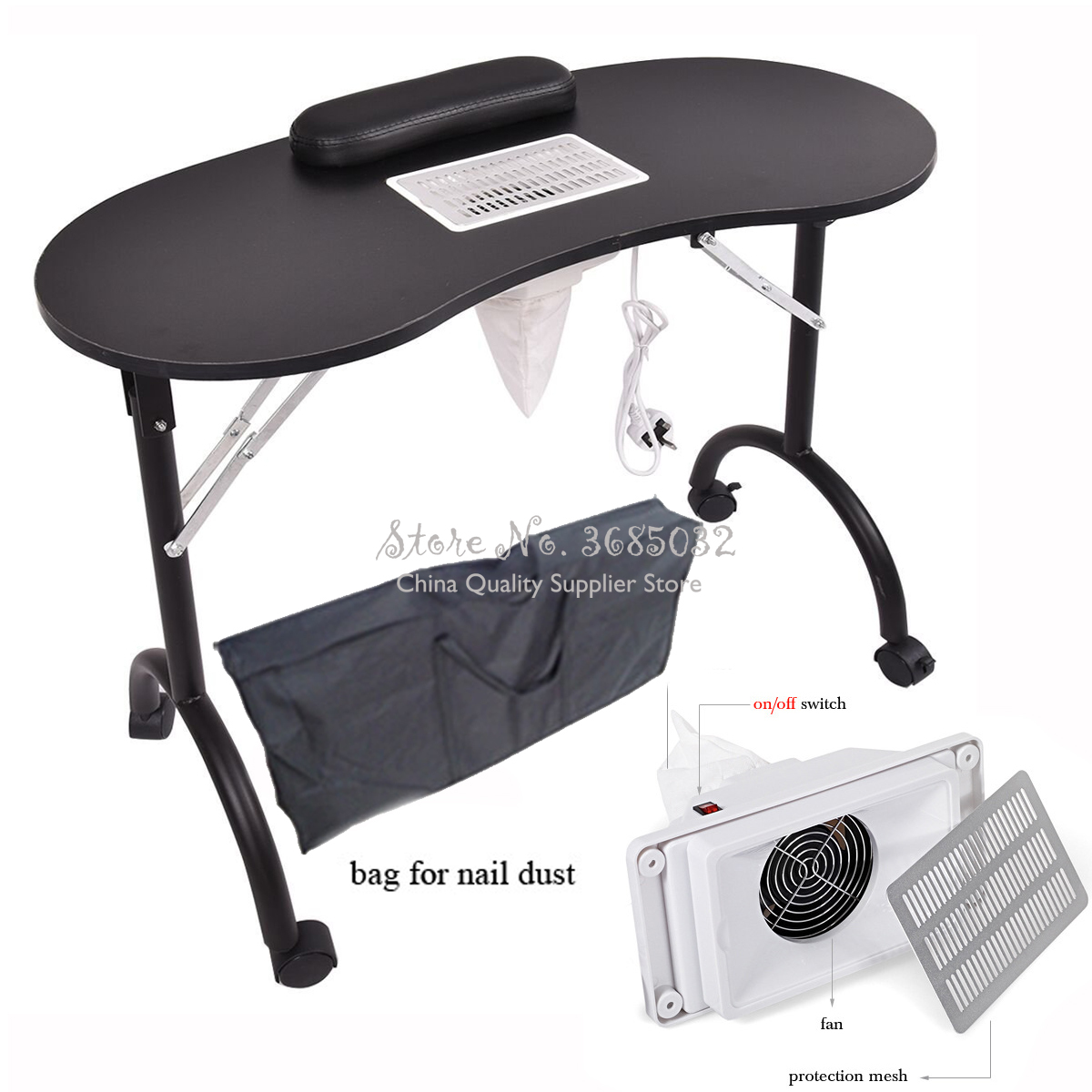 29%,Manicure Desk With Vacuum Cleaner Nail Art Table Spa Beauty Salon Equipment For Nails Foldable Nail Table+Storage Bag