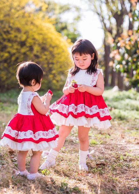 Vestido de fiesta de princesa de lolita español Vintage sin mangas de encaje rojo de primavera y verano para niña vestido de Pascua de cumpleaños