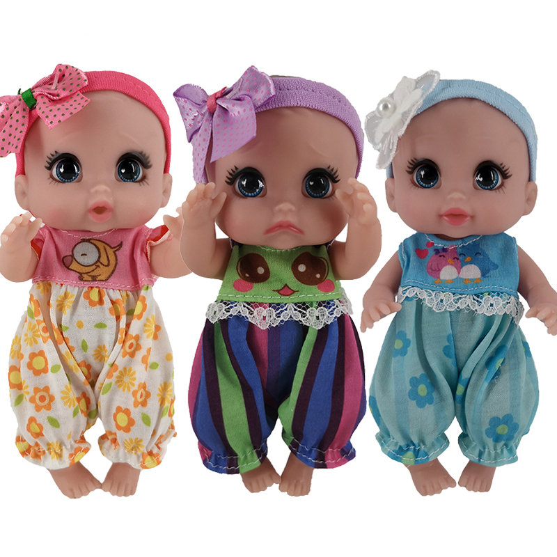 Hot Sale Mini Bebe Doll 14-16cm Delicate Charming Full Vinyl Dolls Body Smile Crying Kitty DIY ICY Toys For Toddler Girls Gift