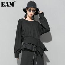 EAM-Sudadera con Cruz Irregular para mujer, de manga larga y cuello redondo, talla grande, a la moda, para primavera y otoño, 2021, 1DA866
