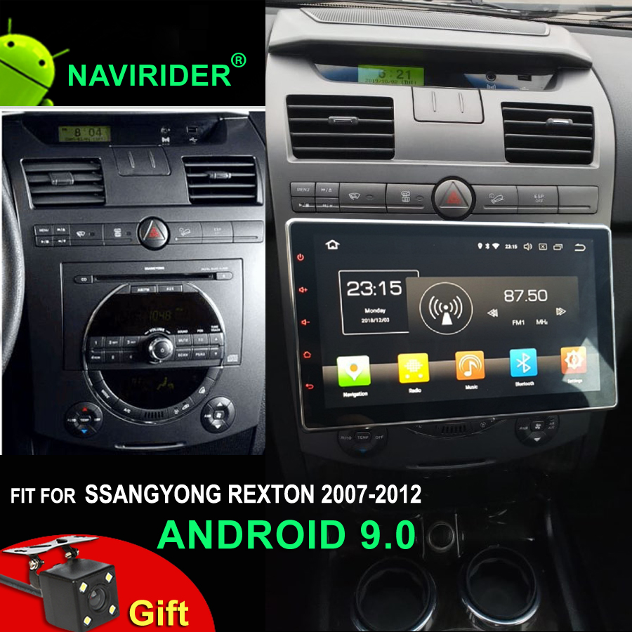 Car Radio Android 9.0 For SSANGYONG Rexton GPS IPS Screen Video Recorder Player Up Down Left Right Adjust Navigation 2007-2012