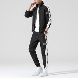 Mannen Set Mode Sport Mannen Sweatsuit Hiphop Fitness Kleding Twee Stukken Sweatshirt Sweatpant Man Trainingspak Zwart Wit Grijs