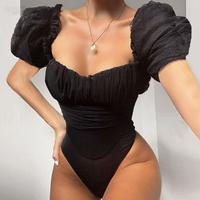 Black Mesh Puff Sleeve Bodysuit Women Skinny Square Neck Bodysuits Sheath Basic Ladies Elegant Overalls Women Body Tops Party