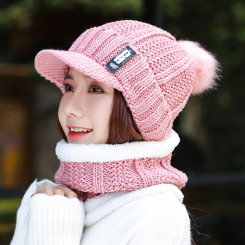 Lady's Woollen  Winter New Face Mask Collar Hat Three-piece Set Pile Thickening Knitted Beanies Scarf Suits Girl Boys Men Cap