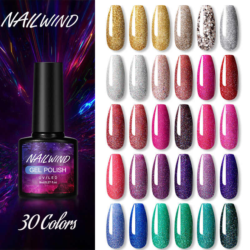 Nailwind Gel Cat Kuku Hybrid Pernis Neon Manicure Set untuk Kuku Ekstensi Base Top Coat UV Permanen Gel Polandia