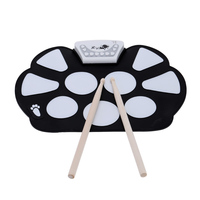 Portable Roll up Electronic Drum Pad Kit Silicon Drum Pad Foldable with Drum Sticks Percussion Instruments