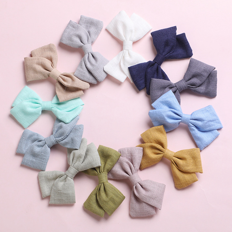 Lovely Hair Clips For Baby Girls Spring Hair Accessories Cotton Kids Infant Hair Bows Hairpin Princess Barrette Child 23 Colors
