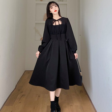 High Street Women Dress Spring Autumn The New Fashion Hipster Designer Thin Best Sellers Hollow Out Bow Tie Long Sleeve