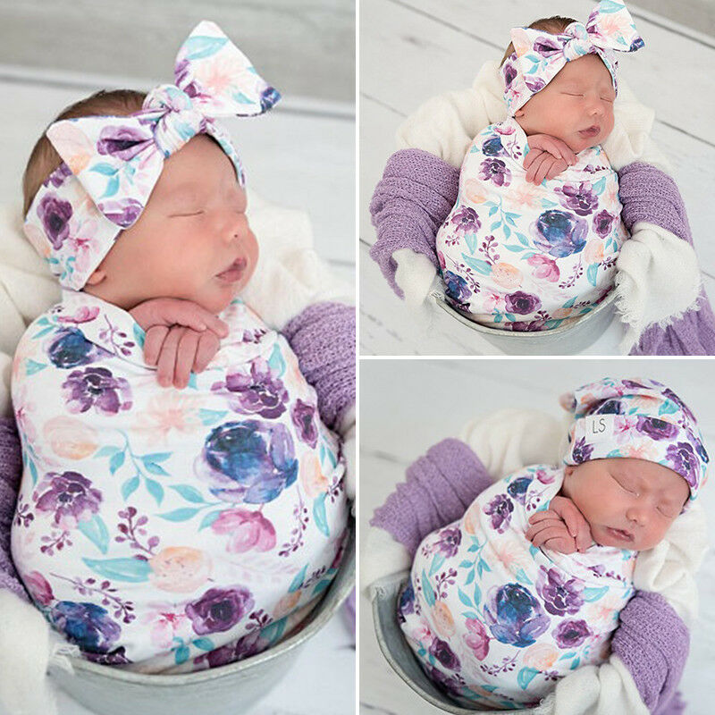 Newborn Baby Floral Swaddles Blanket Sleeping Bag Headband Hat Set Cotton Blankets 80x65cm