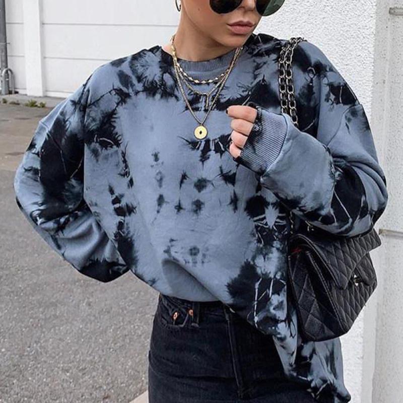 Осенне-зимний Элегантный Женский свитшот, пуловер, модная Свободная Женская толстовка с принтом, свитшот с круглым вырезом, одежда