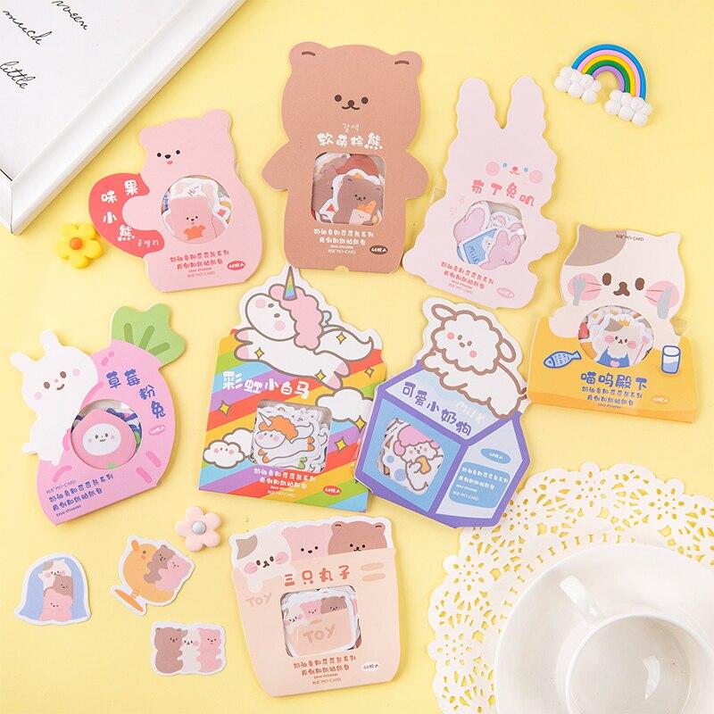 40 Pcs Cream Rabbit And Cocoa Bear Series Decorative Washi Stickers Scrapbooking Stick Label Diary Stationery Album Stickers