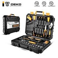 DEKO-herramientas de mano edc, cajas de herramientas de mano para el hogar, con conjunto de caja de enchufe, llave dinamométrica, martillo destornillador, 128 Uds.herramientas mecánicas,herramientas carpintería