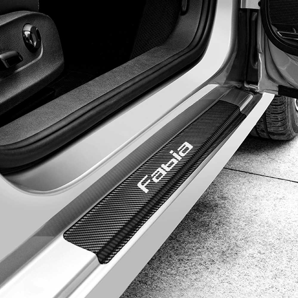 shanhua Can be Customized For SKODA FABIA Carbon Fiber Door Sill Protector Anti-kick Scratch Welcome Pedals Guards Threshold Sticker With Word FABIA Blue 4Pcs