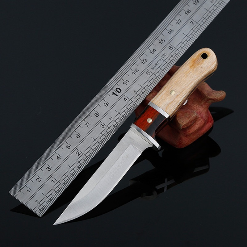 Hysenss Fixed Blade Fighting Knife Camping Survival EDC Tools Pocket Knives Outdoor Hunting Portable Wood Handle Tactics image