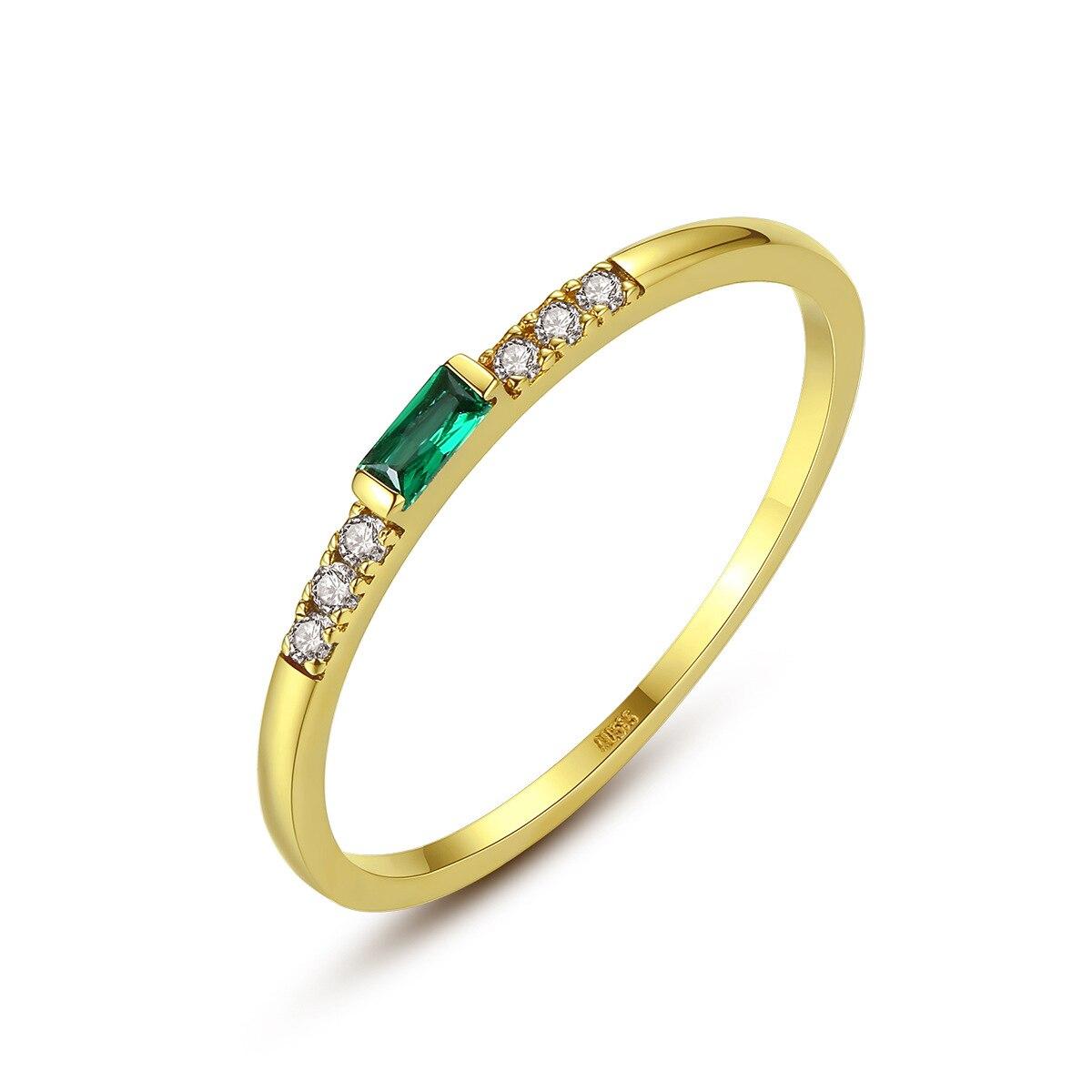 MetJakt 14K or micro-ensemble vert zirconium exquis et élégant bague pour femme
