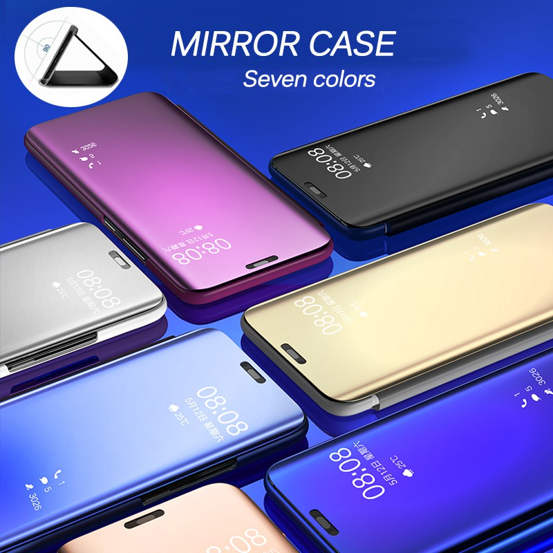 <font><b>Realme</b></font> 6 5 Pro 6i 6s 5i 5s Flip <font><b>Phone</b></font> Case <font><b>Realme</b></font> 1 2 <font><b>3</b></font> Pro X Lite XT X2 Q <font><b>OPPO</b></font> K3 Smart Wake-up Clear View Mirror Cover Stand image