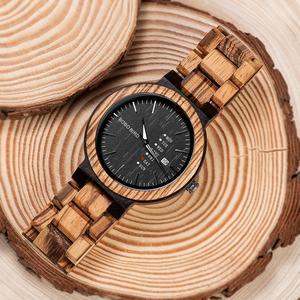 Image 2 - Bobo Vogel Mannen Horloge Automatische Datum Week Display Hout Horloges Mannelijke Uurwerken Quartz Horloges Relogio Masculino Gift