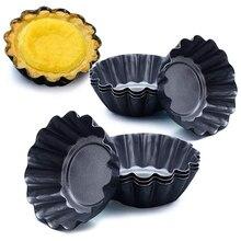 12 Packs Ei Torte Form, Upgrade Größere Größe 7,5x2,3 cm, cupcake Kuchen Muffin Form Zinn Pan Backen Werkzeug, Carbon Stahl