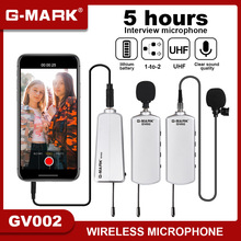 Camera Microphone Wireless G-MARK GV002 Lavalier Mic For Asmr DSLR Interview Live Recording Lithium Battery 50m Range