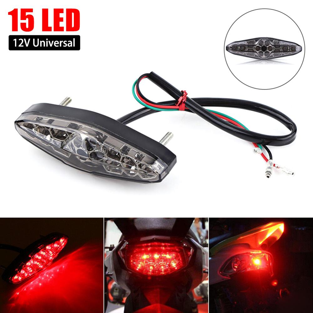 12V Motorcycle Rear Brake LED Tail Stop Light Lamp For Dirt Taillight Rear License Plate Light Accessories Decorative Lamp Emark