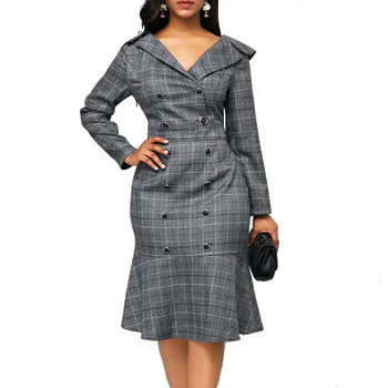 Vintage Elegant Plaid Office Bodycon Dresses Women 2020 Autumn Casual Plus Size Long Sleeve Double-Breasted Slim Ruffles Dress 2019 autumn print striped blazer dress women double button ruffles bodycon wrap dress women with sashes ol work office dress