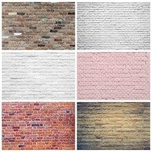 Laeacco sesión fotográfica de cumpleaños, pared de ladrillo blanco, rosa, sólido, Grunge, Retrato, fondos de fotografía, Fondo de boda para estudio fotográfico