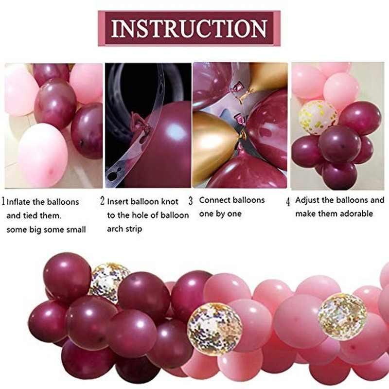 100 adet balonlar pembe altın konfeti balonları Garland kemer ve altın parti bebek duş bordo ve altın düğün süslemeleri