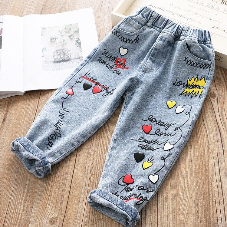 Г. Весенние новые модные джинсовые штаны для детей с вышитым граффити