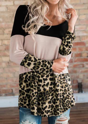נשים צבע בלוק נמר מודפס מלא ארוך שרוול פאטאל חזרה כפתור חולצה Harajuku בתוספת גודל טרנדי קוריאני בגדים