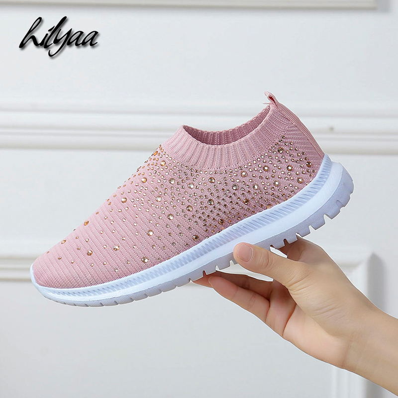 High Quality Woman Casual Vulcanized Shoes Rhinestone Breathable Light Mesh Shoes Walking Running Sneaker Women Flats Size 35-43