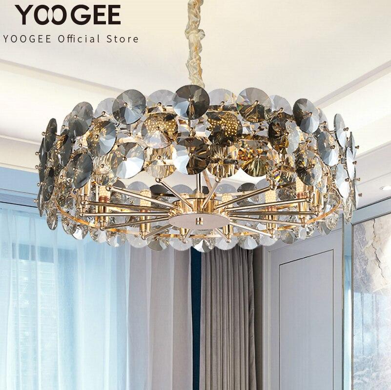 YOOGEE Black Round Chandeliers Living room Crsytal Chandelier lights Fixtures LED Indoor Lighting Polished Gold Haning Lamp