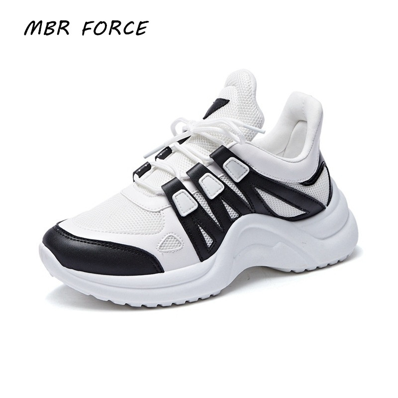 MBR FORCE Brand 2019 Breathable Mesh Women Casual Shoes Vulcanize Female Fashion Sneakers Lace Up High Leisure Footwears