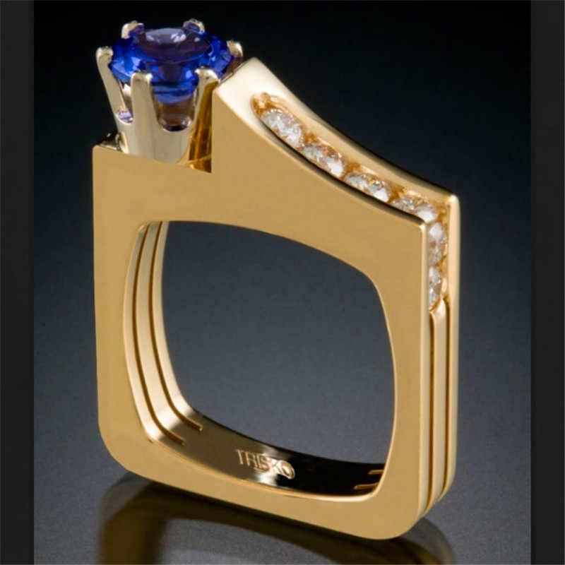 หญิงหรูหราคริสตัลสีฟ้าสีเขียวแชมเปญหินแหวนแฟชั่นสีเหลืองทองแหวน Vintage Party แหวนเรขาคณิตสำหรับผู้หญิง