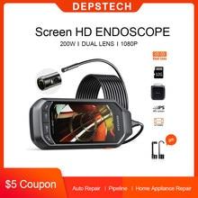 DEPSTECH-cámara endoscópica con pantalla IPS LCD de 4,5 pulgadas, cámara de inspección Digital de 2.0MP, 5.0MP, HD, con 6 LED para inspección de drenaje de alcantarillado de coche